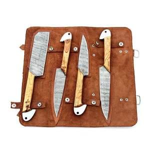 4 pcs SET chef damascus steel knives handmade wood