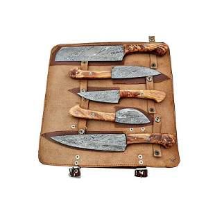 Set of 5 kitchen butcher damascus steel knife wood work