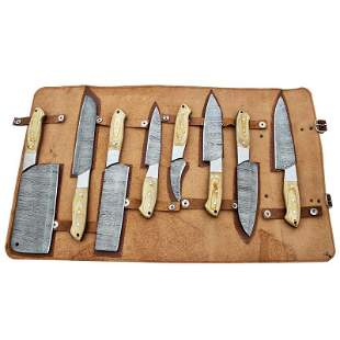 Set 8 chef kitchen damascus steel knives camping wood