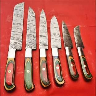 6 pcs SET kitchen chef damascus steel knife pakka wood