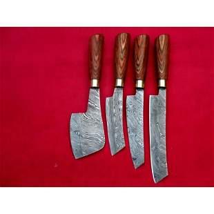 Set of 4 chife kitchen damascus steel knives wood