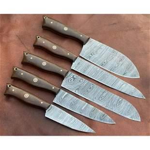 Set of 5 kitchen full tang damascus steel knife micarta