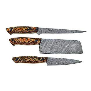 Set of 3 kitchen chef butcher damascus steel knife wood