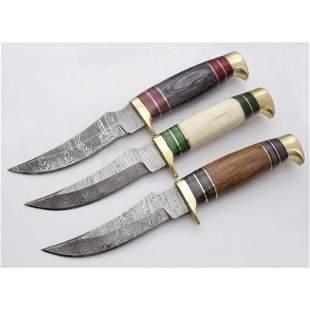 Set 3 skinner hunting damascus steel knives bone wood