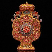 Qing Dy Gold Wire Inlay Ruby Double Dragon Vase