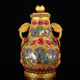 Superb Gold Wire Enamel Inlay Gem Double Rings Pot