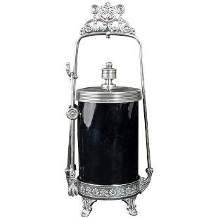 Victorian Silver Plate Pickle Castor with Amethyst