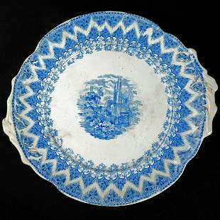 Large 19th C Staffordshire Platter of Churchyard late