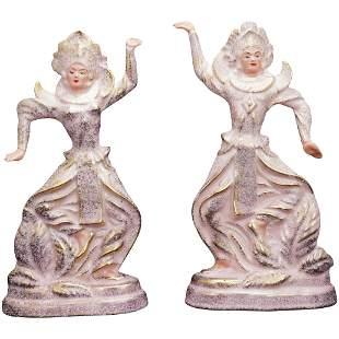 Pair Midcentury Californian Ceramic Siamese of Dancers