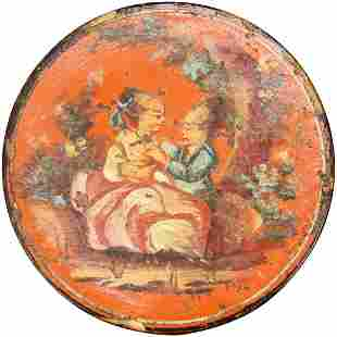 European Hand Painted Red Snuff Box 18th/19th Century