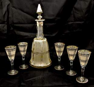 Decanter with five glasses