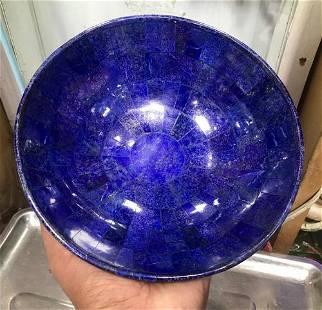 Hand Crafted Lapis Lazuli Bowl Ovel Shape, 750 Gram
