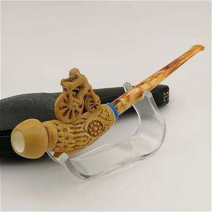 Monkey with Bicycle,Hand carved Meerschaum Pipe
