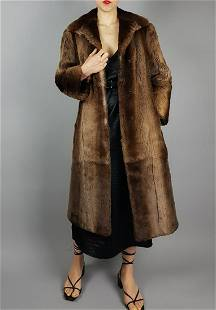SHEARED BROWN BISAM FUR COAT