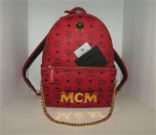 MCM STARK TRILOGIE Backpack Shoulder Bag Clutch Red