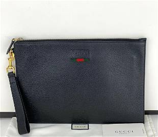 Gucci Agora Black Men's Leather Pouch With Web 428758