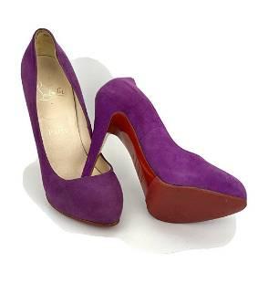 CHRISTIAN LOUBOUTIN Suede Purple Pumps Heels SZ 37 / Us