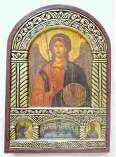 GREEK ORTHODOX ICON on WOOD of ARCHANGEL