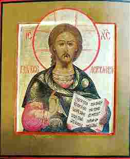 ANTIQUE 19cHAND PAINTED RUSSIAN ICON OF CHRIST