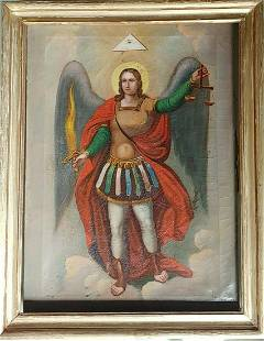 ANTIQUE FINELY PAINTED RUSSIAN ICON OF ST.MIHAIL