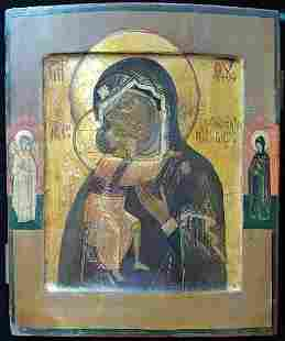 ANTIQUE 19C RUSSIAN HAND PAINTED ICON FEDOROVSKAYA