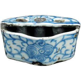 Chinese Ming Porcelain Inkwell with Brush Holder