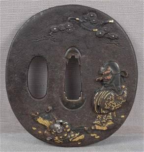 18c Japanese sword tsuba FUKUROKUJU TENGU MASK