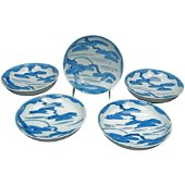Set Five 18th C Japanese Edo Sometsuke Pine Tree Bowls