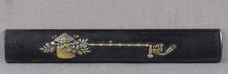 c Japanese sword KOZUKA ritual ladle & flowers