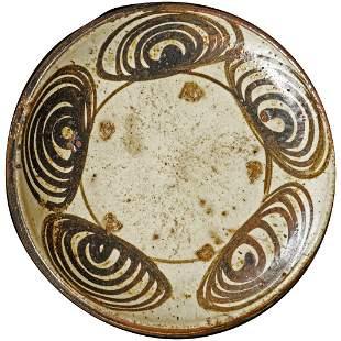 Japanese Edo Seto Ware Horse Eye Plate 18th Century