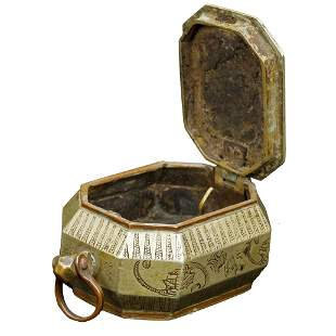 Chinese Qing Paktong Opium Box with Script 19th C