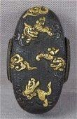 19c Japanese sword kashira TIGER SHISHI KIRIN