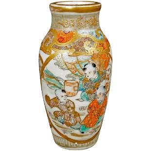 Small Meiji Japanese Satsuma Vase of Children Playing