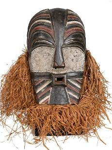 Female Mask – Raphia, Wood – Kifwebe –