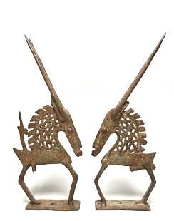 Bronze couple Tji - Wara - Mali, Africa