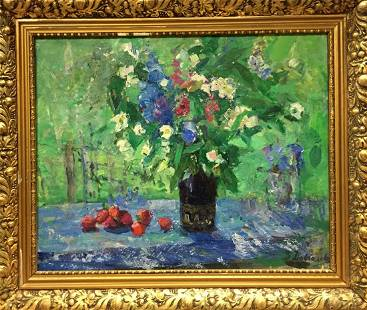 Oil painting Strawberries and flowers Dovgalevskaya