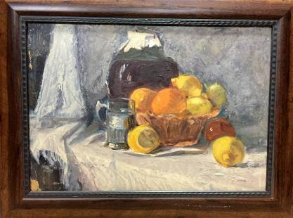 Oil painting still life The table is full of fruits