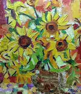 Oil painting Sunflowers B. Filatov
