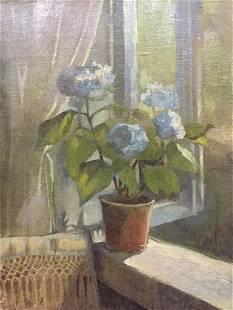 Oil painting Flower on the windowsill Seleznev Vladimir