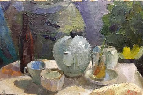 Oil painting Food and drinks on the table