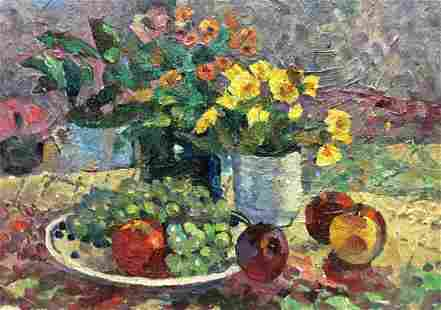 Oil painting Fruit on the table Bezugly Danilo