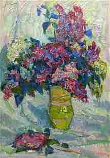 Oil painting Flowers Chegodar Vasily Dmitrievich