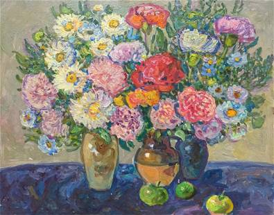 Oil painting Flowers and apples Ruban Grigory