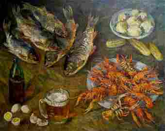 Oil painting Still life with fish