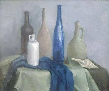 Oil painting Still life with bottles Mazur Maksym