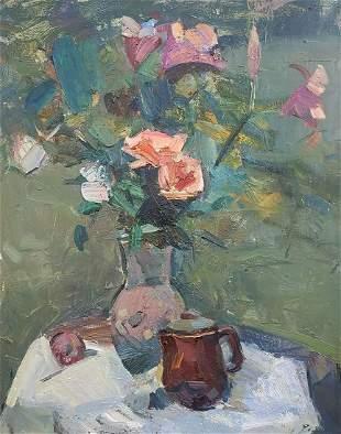 Oil painting Flowers on the table Mazur Vladimir