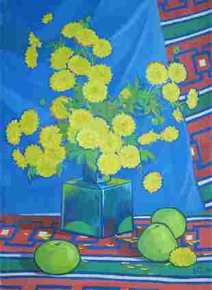 Oil painting Yellow chrysanthemums Kalebets Valery