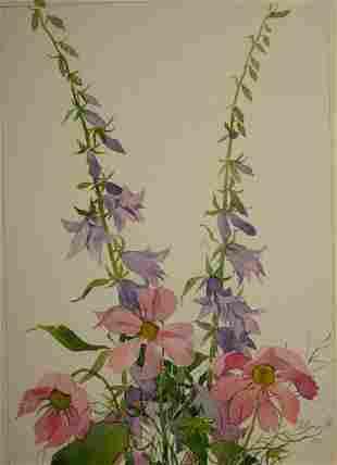 Watercolor painting Bells and peonies Kalebets Valery