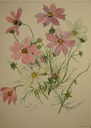 Watercolor painting Peonies Kalebets Valery
