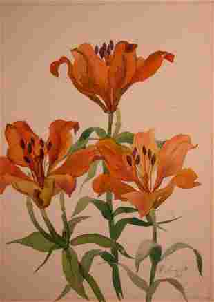 Watercolor painting Lilies Kalebets Valery